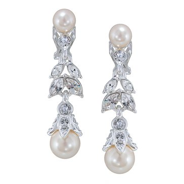 Carolee The Lily Floral Sim Pearl Linear Drop Clip On Earrings