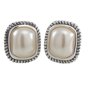Carolee The Rose Cable Edge Simulated Pearl Clip On Earrings