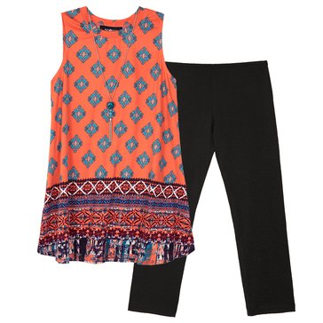 Byer Big Girls' 2-Piece Tunic Legging Set, Coral