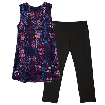 Byer Big Girls' 2-Piece Tunic Legging Set, Multi Floral