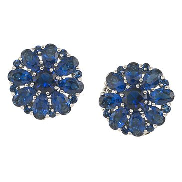 Carolee The Melissa Blue Button Clip On Earrings