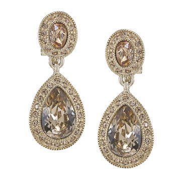 Carolee The Bridget Crystal Double Drop Clip On Earrings