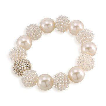 Carolee The Aria White Sim Pearl Stretch Bracelet
