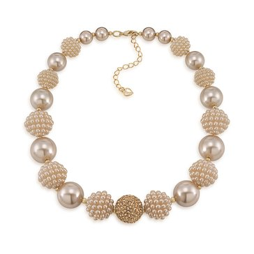 Carolee The Isabelle Suede Sim Pearl Bold Beaded Collar Necklace