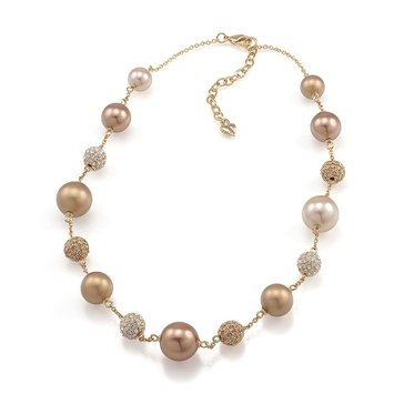 Carolee Mia Crystal and Gold Pearl Illusion Necklace