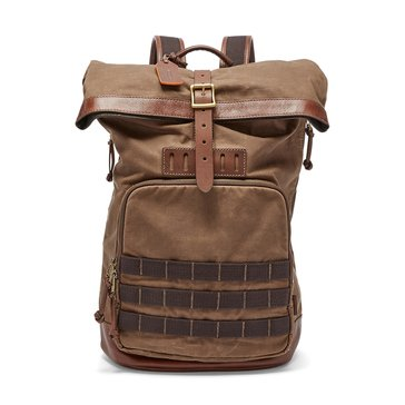 Fossil Bags- Defender Wax Candle Canvas Roll Top - Brown