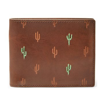 Fossil Wallet RFID Kenny Bifold- Brown Cactus