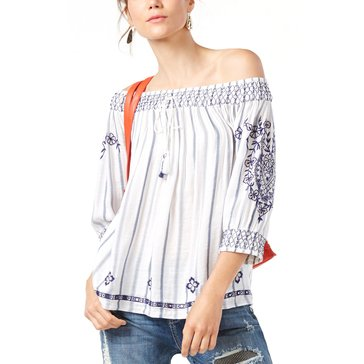 INC International Concepts Long Sleeve Over the Shoulder Spode Embroidered Linen Top in Blue/White