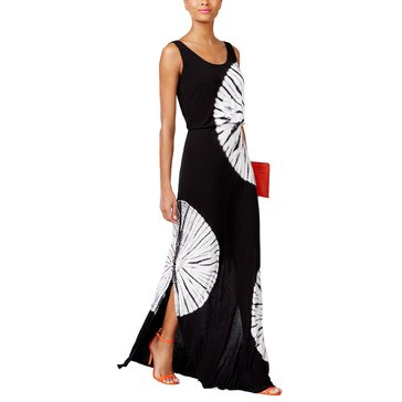 INC International Concepts Tie Dye Blouson Maxi Dress in Black/ White Daydream