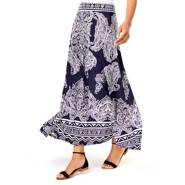 INC International Concepts Printed Maxi Skirt Queen of Hearts