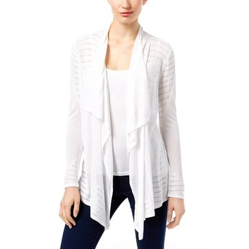 INC International Concepts Pointelle FG Cardigan in Bright White