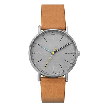 Skagen Men's Signature Watch SKW6373, Gray/ Brown Leather 40mm