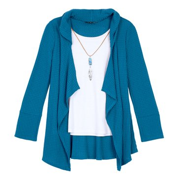 Byer Big Girls' 2Fer Cozy Top, Teal