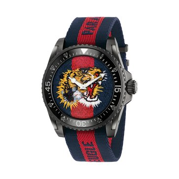 Gucci Unisex Swiss Dive Embroidered Tiger/Blue & Red Striped Nylon Watch, 45mm