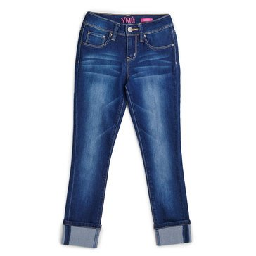 YMI Big Girls' Super Soft Cuffed Skinny Jeans