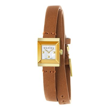 Gucci Women's G-Frame Gold/Brown Leather Wrap Watch, 14mm