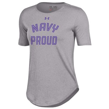 Under Armour Women's Navy Proud Short Sleeve Crew Novelty Tee Shirt