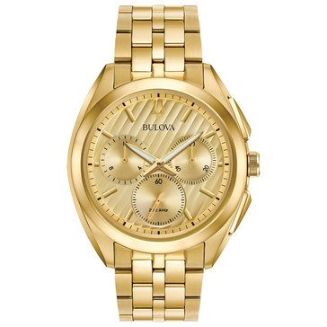Bulova Men's Curv Chronograph Gold Tone Bracelet Watch, 45mm