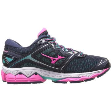 Mizuno Wave Sky Women's Running Shoe - Peacoat / Pink Glo / Ceramic
