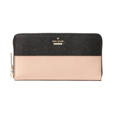 Kate Spade Cameron Street Lacey Money Piece Wallet Black Toasted Wheat