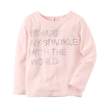 Carter's Toddler Girls' Sparkle Tee, Light Pink