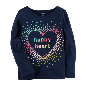 Carter's Toddler Girls' Happy Heart Tee, Navy
