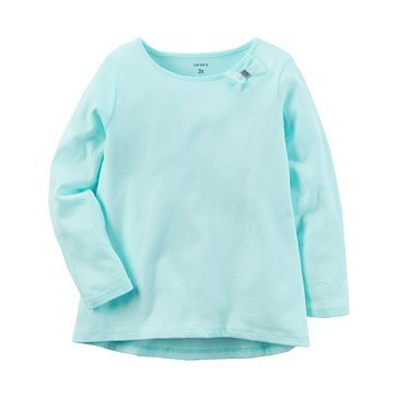 Carter's Toddler Girls' Solid A-line Top, Light Blue