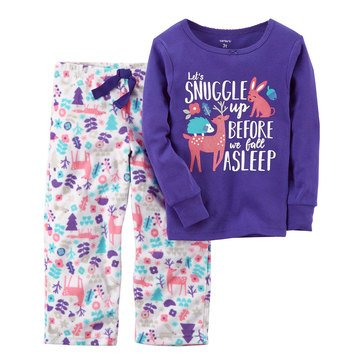 Carter's Toddler Girls' 2-Piece Knit To Fleece Outdoor Pajama