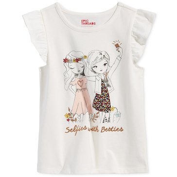 Epic Threads Little Girls' Selfies With Besties Tee, Holiday Ivory