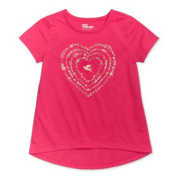 Epic Threads Little Girls' Glitter Heart Tee, Byzantine