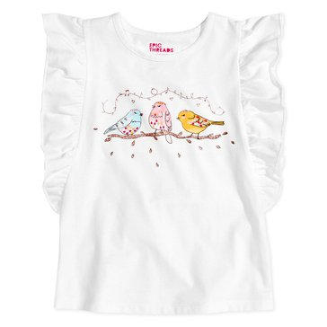 Epic Threads Little Girls' Three Birds Tee, Holiday Ivory