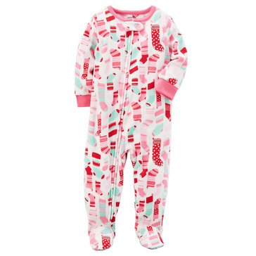 Carter's Toddler Girls' Christmas Fleece Stocking Print Pajamas