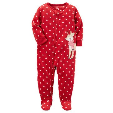 Carter's Toddler Girls' Christmas Fleece Dot Reindeer Pajamas