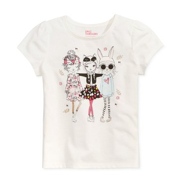 Epic Threads Little Girls' Three Girls Tee, Holiday Ivory