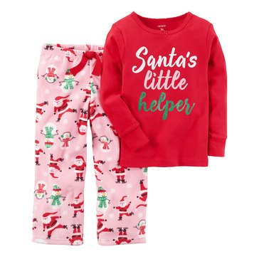 Carter's Baby Girls' Christmas 2-Piece Fleece Pajama Set, Santa's Helper