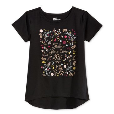 Epic Threads Little Girls' Follow Path Hilo Tee, Deep Black