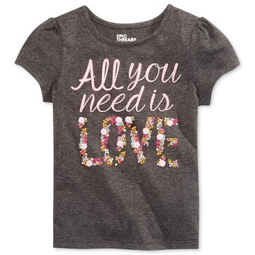 Epic Threads Little Girls' All You Need Love Tee, Charcoal Heather