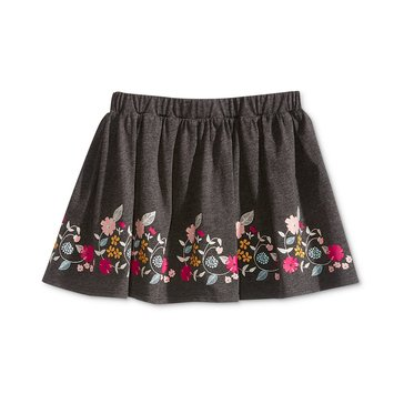 Epic Threads Little Girls' Floral Border Skirt, Charcoal Hthr