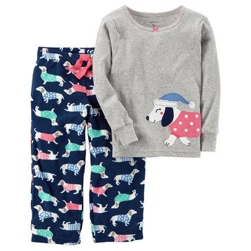 Carter's Big Girls' 2-Piece Knit To Fleece Dog Pajamas