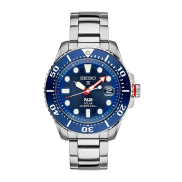 Seiko Men's Prospex PADI Stainless Steel Special Edition Solar Dive Watch, 45mm