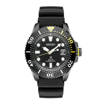 Seiko Men's Prospex Solar Black Silicone Dive Watch, 44mm