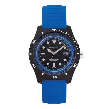 Nautica Men's Ibiza Black Silicone Watch, 46mm