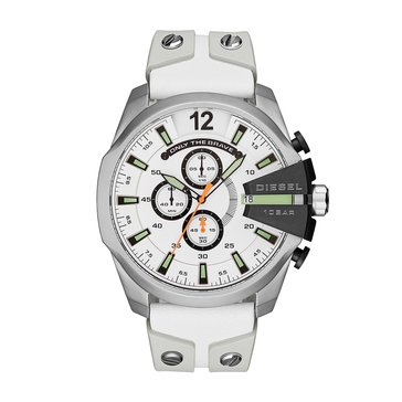 Diesel Men's Mega Chief White Leather/Silicone Strap Watch, 59mm