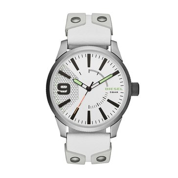 Diesel Men's Rasp White Leather/Silicone Strap Watch, 53mm