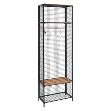 Linon Grid Metal and Wood Locker Coat Rack