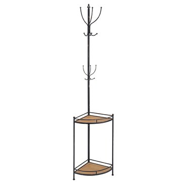 Linon Corner Metal and Wood Coat Rack