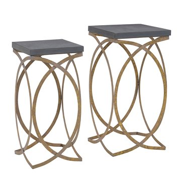 Linon Set of Two Concrete Like Gold Nesting Tables