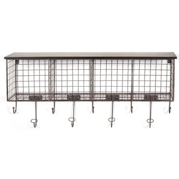 Linon Four Cubby Wall Shelf - Black