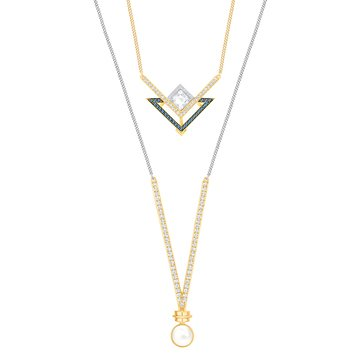 Swarovski Rhodium & Gold Plated Golden Necklace Set