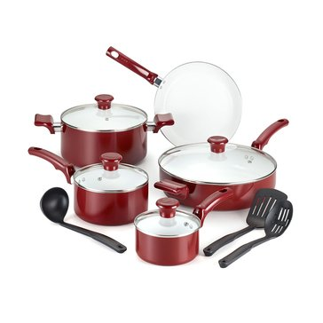T-Fal 12-Piece Ceramic Chef Cookware Set, Red